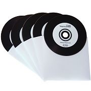 image of 5 black vinyl CDs in white inner sleeves